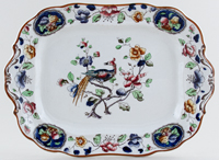 Hancock Sampson Old Woodstock colour Meat Dish or Platter c1920s