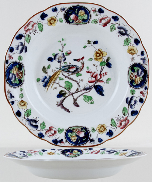 Hancock Sampson Old Woodstock colour Soup Plate c1920s
