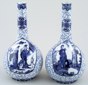 Hancock Sampson Chien Lung Vases Pair of c1920s