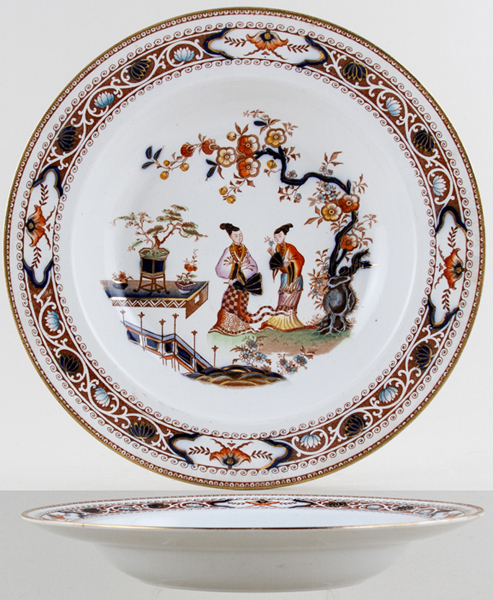Hancock Sampson Cheng colour Soup Plate c1920s