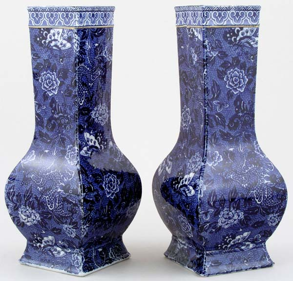 Shelley Blue Dragon Vases pair of c1920s