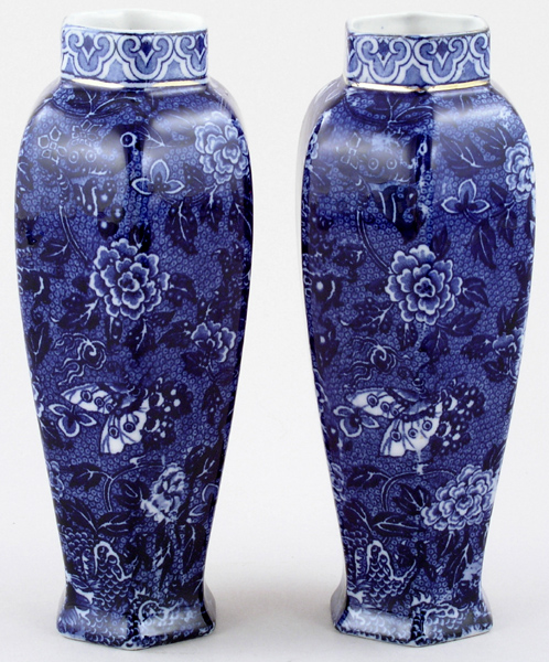 Shelley Unidentified Pattern Vases pair of c1920s