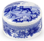 Spode Blue Room Trinket Box round Aesops Fables