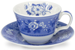 Spode Blue Room Cup and Saucer Botanical
