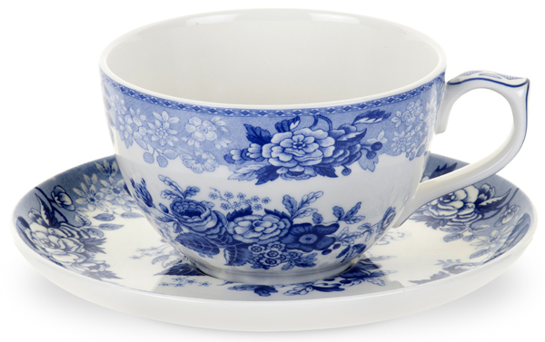 Spode Blue Room Cup & Saucer Jumbo Blue Rose