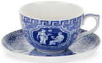 Spode Blue Room Cup and Saucer Jumbo Greek