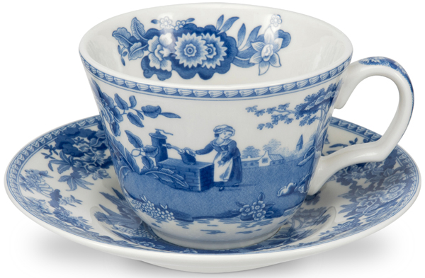 Spode Blue Room Cup and Saucer Girl at Well