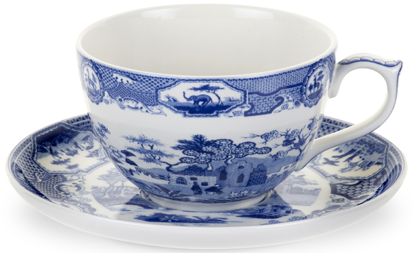 Spode Blue Room Cup and Saucer Jumbo Gothic Castle