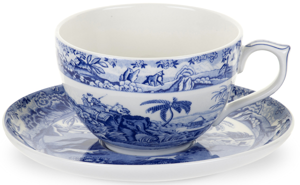 Spode Blue Room Cup and Saucer Jumbo Indian Sporting