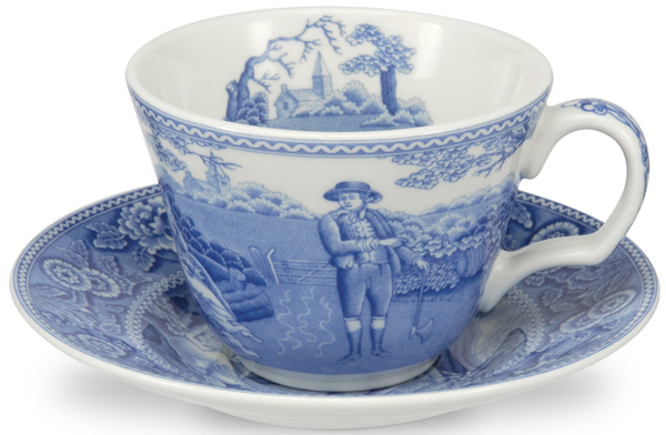 Spode Blue Room Cup and Saucer Woodman