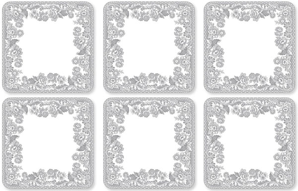 Spode Delamere Rural grey Coasters set of Six