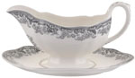 Spode Delamere Rural grey Sauce Boat with Stand