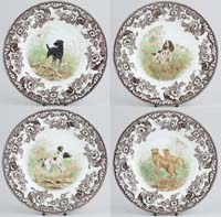 Plates Set of Four Dogs