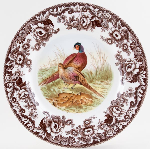 Spode Woodland brown with colour Dinner Plate Pheasant