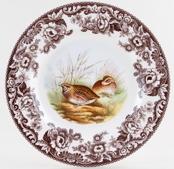 Spode Woodland brown with colour Dinner Plate Quail