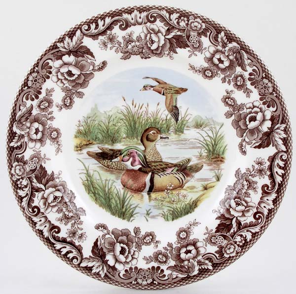 Spode Woodland brown with colour Dinner Plate Wood Duck