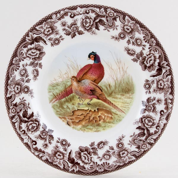 Spode Woodland brown with colour Side or Cheese Plate Pheasant