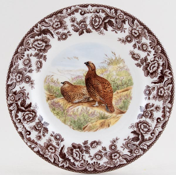 Spode Woodland brown with colour Side or Cheese Plate Red Grouse