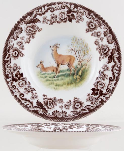 Spode Woodland brown with colour Soup Plate Deer
