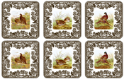 Spode Woodland brown with colour Coasters set of Six
