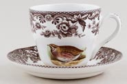 Spode Woodland brown with colour Teacup and Saucer