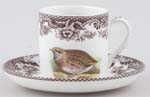 Spode Woodland brown with colour Coffee Cup and Saucer