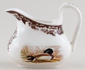 Spode Woodland brown with colour Creamer or Jug Pheasant and Mallard