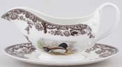 Spode Woodland brown with colour Sauce Boat with Stand