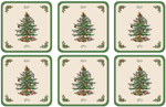 Spode Christmas Tree colour Coasters set of Six