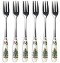 Spode Christmas Tree colour Forks Pastry Set of Six