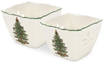 Spode Christmas Tree colour Votives with Tealights Set of 2