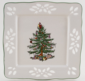 Spode Christmas Tree colour Pierced Tray square