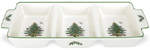 Spode Christmas Tree colour Tray Serving with Handle three section
