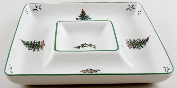 Spode Christmas Tree colour Chip and Dip Dish