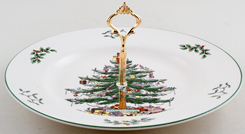 Spode Christmas Tree colour Cake Stand