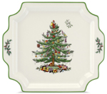 Spode Christmas Tree colour Handled Platter square