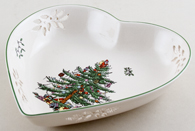 Spode Christmas Tree colour Dish Heart shape