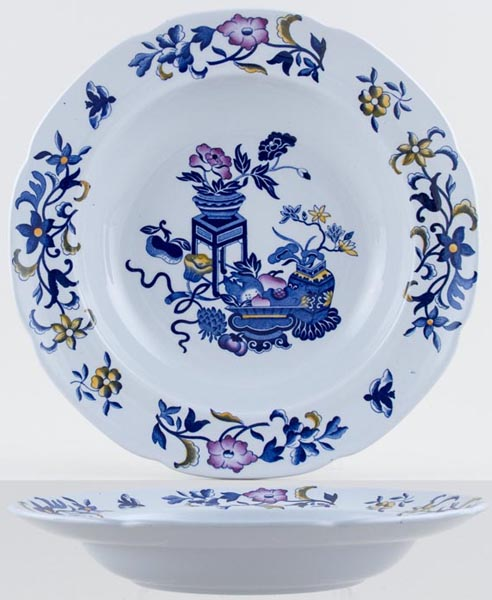 Spode Bowpot blue with colour Soup Plate c1960s