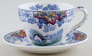 Spode Byron blue with colour Teacup and Saucer c1950s