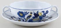 Spode Blue Bird colour Soup Cup and Saucer c1950s
