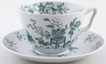 Spode Bowpot green Breakfast Cup and Saucer c1953