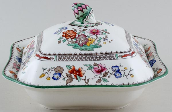 Spode Chinese Rose colour Vegetable Dish with Cover c1940s