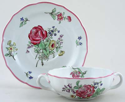Spode Luneville colour Soup Cup and Saucer c1950s