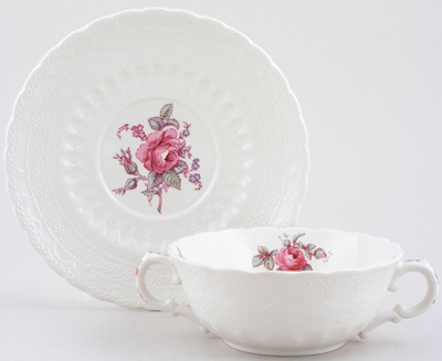 Spode Billingsley Rose colour Soup Cup and Saucer c1970s
