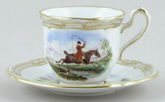 Spode The Hunt colour Coffee Cup and Saucer c1960s