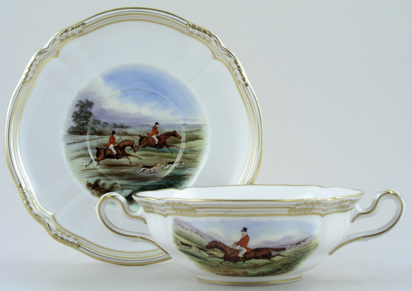 Spode The Hunt colour Soup Cup and Saucer c1960s