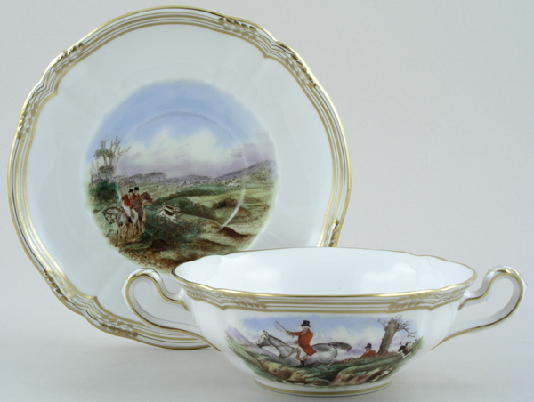 Spode The Hunt colour Soup Cup and Saucer c1970s