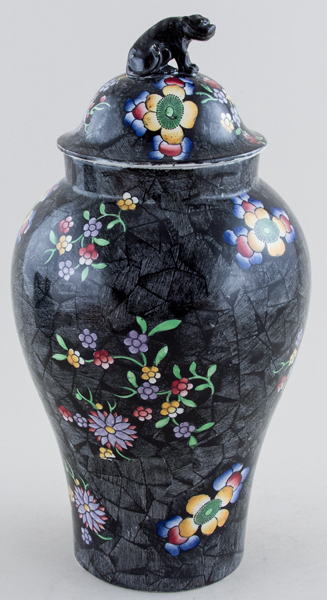 Spode Chinese Figures black with colour Vase with Cover c1917