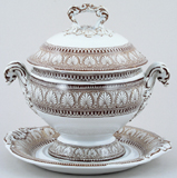 Spode Honeysuckle brown Sauce Tureen c1855