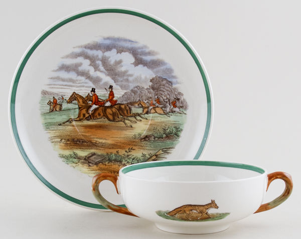 Spode The Hunt colour Soup Cup and Saucer c1960